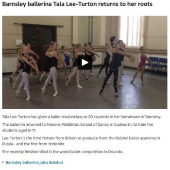 ITV Calendar - July 2016 Barnsley ballerina Tala Lee-Turton returns to her roots